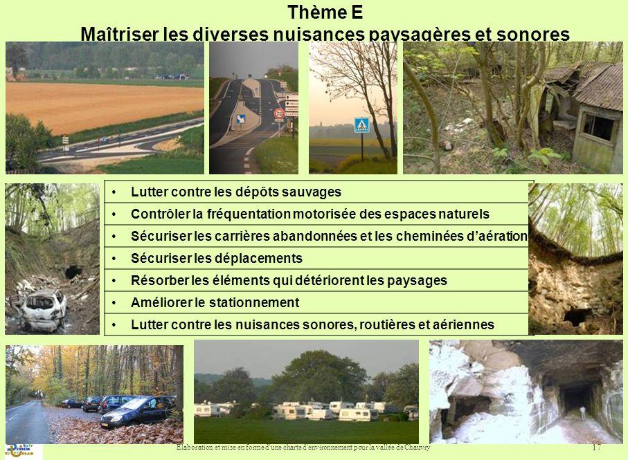 Elaboration et mise en forme d'une charte d'environnement pour la vallée de Chauvry 17 Thème E Maîtriser les diverses nuisances paysagères et sonores