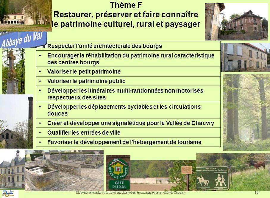Elaboration et mise en forme d'une charte d'environnement pour la vallée de Chauvry 19 Thème F Restaurer, préserver et faire connaître le patrimoine c