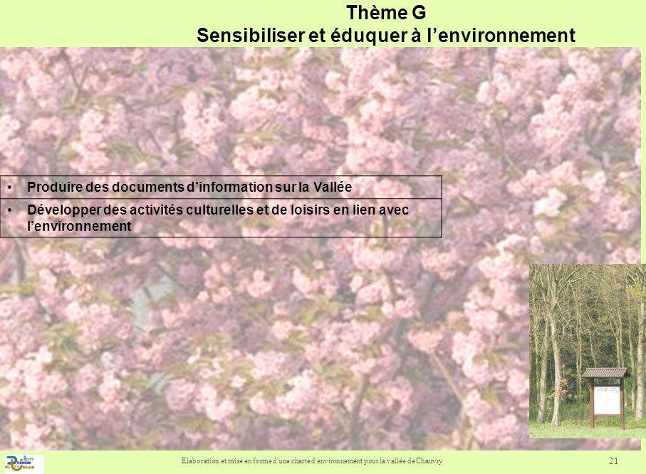 Elaboration et mise en forme d'une charte d'environnement pour la vallée de Chauvry 21 Thème G Sensibiliser et éduquer à lenvironnement Produire des d