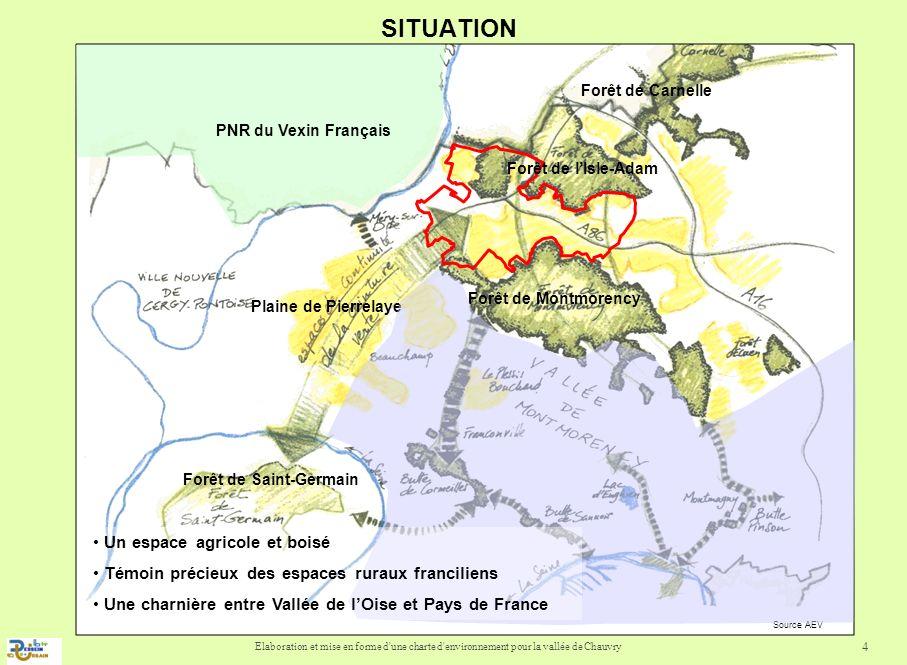 Elaboration et mise en forme d'une charte d'environnement pour la vallée de Chauvry 4 SITUATION Plaine de Pierrelaye Forêt de Carnelle Forêt de lIsle-