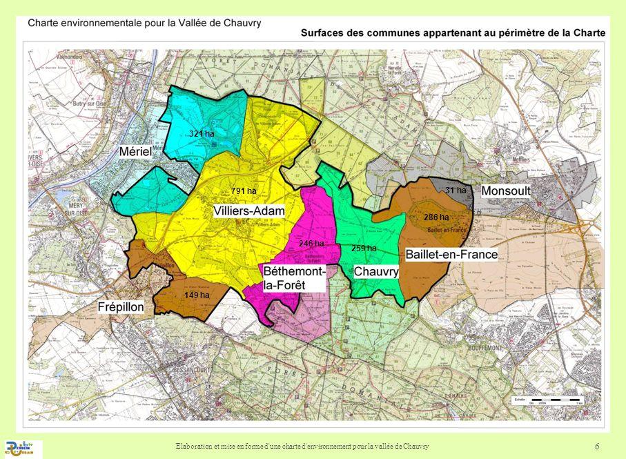 Elaboration et mise en forme d une charte d environnement pour la vallée de Chauvry 7 La vallée de Chauvry : un territoire darticulation Mettre en valeur les sites référencés présentant des milieux fragiles, des caractéristiques environnementales, écologiques et paysagères intéressantes, Renforcer les relations intervillages et les traversées dinfrastructures pour recréer des liens et une dynamique locale (parcours thématiques, sentier de « Tour de Vallée), Préserver les corridors écologiques et « larc vert » reliant les massifs boisés par Villiers-Adam, Mettre en valeur le réseau hydrographique, Mettre en valeur les bourgs ruraux, le patrimoine et le maillage de chemins ruraux.