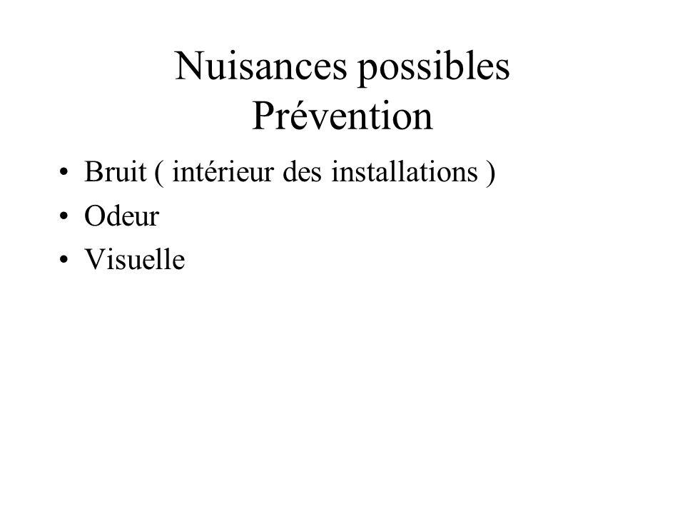 Nuisances possibles Prévention Bruit ( intérieur des installations ) Odeur Visuelle