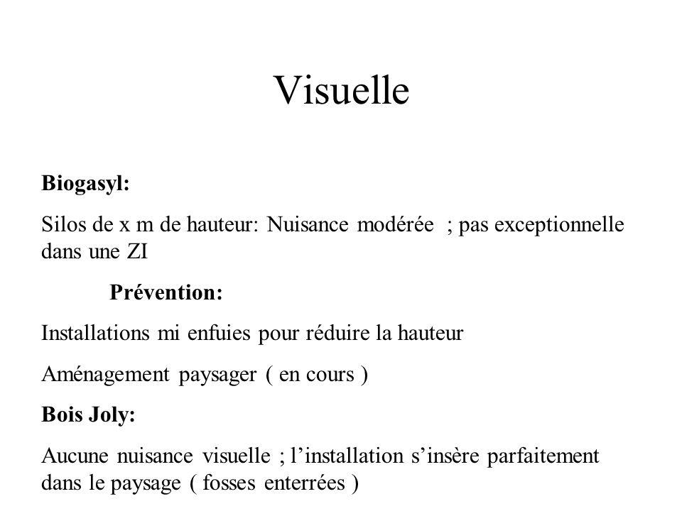 Visuelle Biogasyl: Silos de x m de hauteur: Nuisance modérée ; pas exceptionnelle dans une ZI Prévention: Installations mi enfuies pour réduire la hau