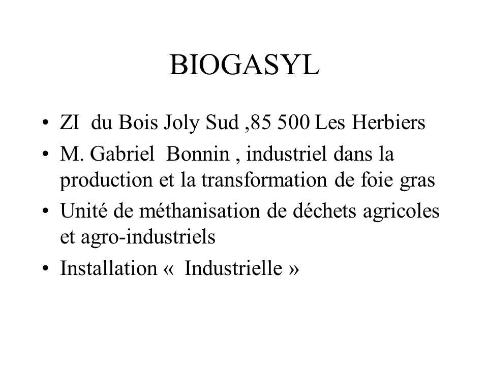 Intrants: Biogasyl: 20à 30000 tonnes / an de déchets agricoles + déchets agro industriels,dabattoir Boues de S T E :30 % Graisses :13% Lisier de canard: 30% Stercoraires : 12 % Dégrillage : 10 % Saisies; 2 % Couvoir: 3 % Bois Joly: Substrats solides : 1500 tonnes / an de fumier bovins + quelques fruits et légumes déclassés