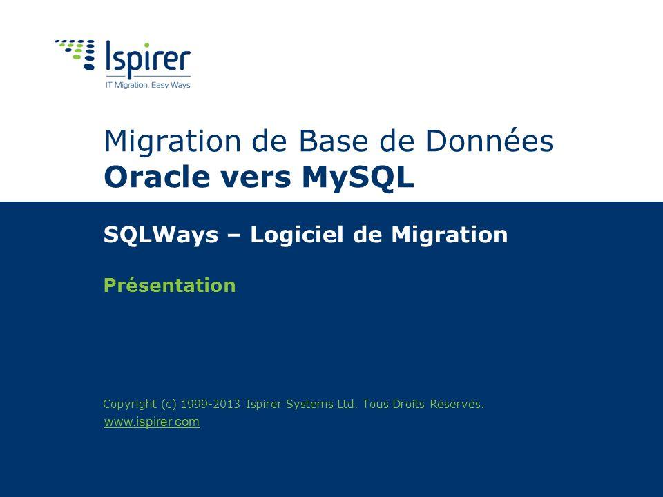 www.ispirer.com Migration de Base de Données Oracle vers MySQL SQLWays – Logiciel de Migration Présentation Copyright (c) 1999-2013 Ispirer Systems Lt