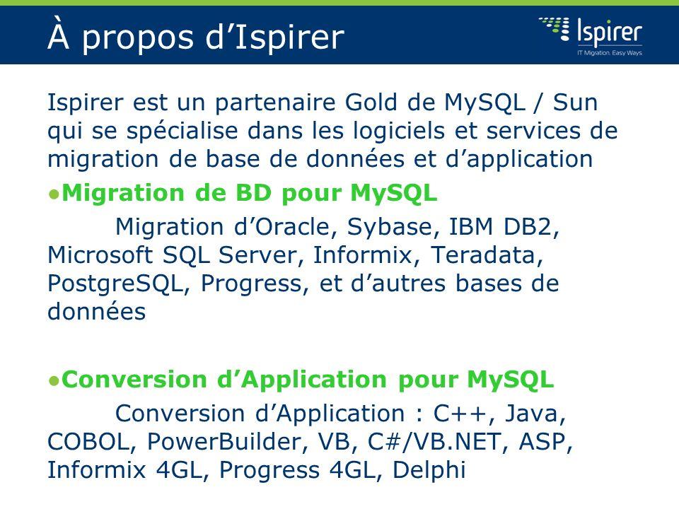 À propos dIspirer Ispirer est un partenaire Gold de MySQL / Sun qui se spécialise dans les logiciels et services de migration de base de données et da