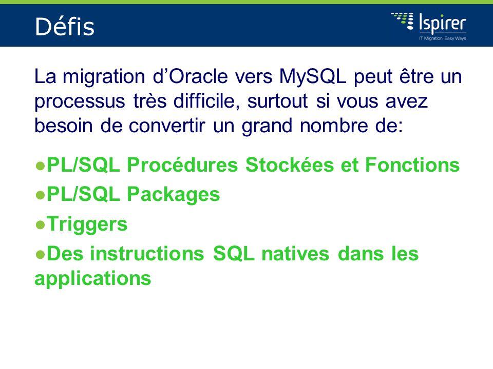 Défis La migration dOracle vers MySQL peut être un processus très difficile, surtout si vous avez besoin de convertir un grand nombre de: PL/SQL Procé