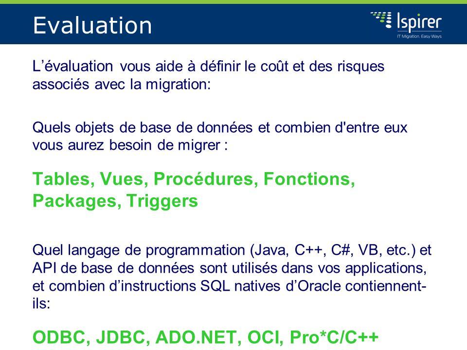 Evaluation Lévaluation vous aide à définir le coût et des risques associés avec la migration: Quels objets de base de données et combien d'entre eux v