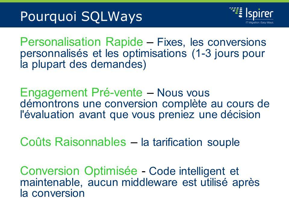 Pourquoi SQLWays Personalisation Rapide – Fixes, les conversions personnalisés et les optimisations (1-3 jours pour la plupart des demandes) Engagemen