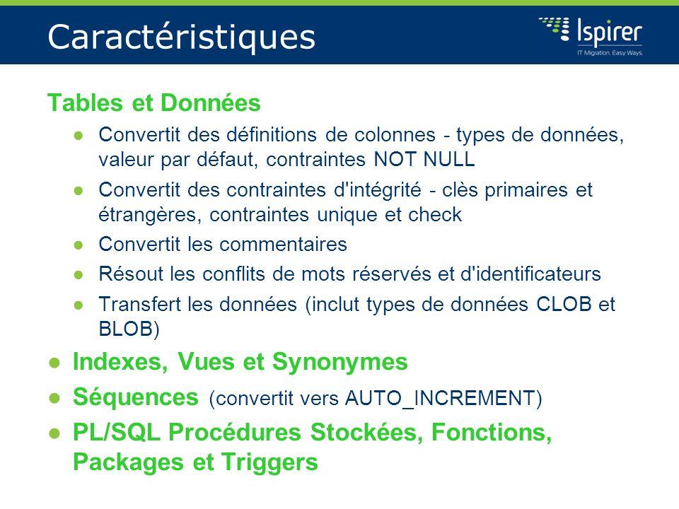 Caractéristiques Tables et Données Convertit des définitions de colonnes - types de données, valeur par défaut, contraintes NOT NULL Convertit des con