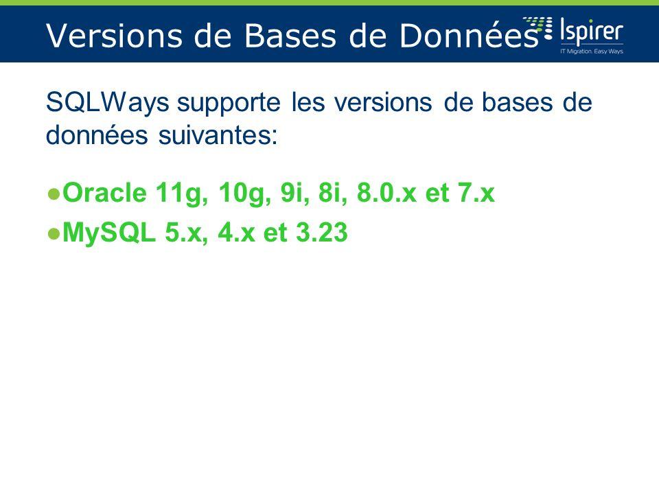 Versions de Bases de Données SQLWays supporte les versions de bases de données suivantes: Oracle 11g, 10g, 9i, 8i, 8.0.x et 7.x MySQL 5.x, 4.x et 3.23