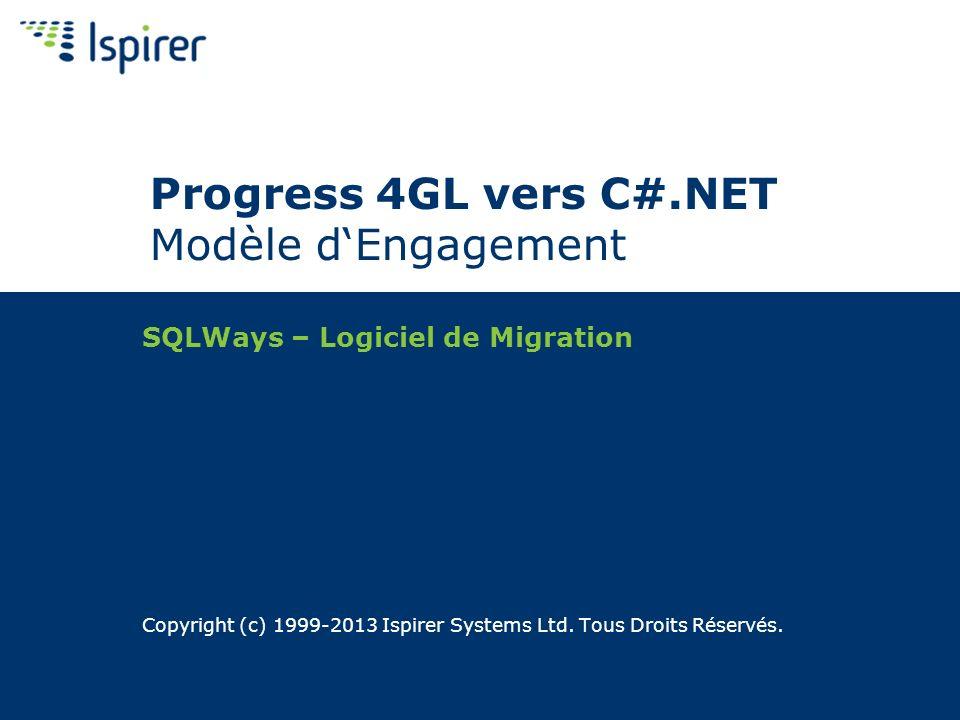 À propos dIspirer Ispirer se spécialise en logiciels et services de migration des base de données et dapplication Migration de base de données Oracle, Microsoft SQL Server, Sybase, IBM DB2, Informix, Teradata, PostgreSQL, MySQL, Progress, Neoview, Interbase, et dautres bases de données Conversion dApplication Conversion dApplication: C++, Visual Basic, Java, C#, VB.NET, Informix 4GL, Progress 4GL, Delphi, PowerBuilder, Visual FoxPro, Reporting Services, Integration Services/DTS