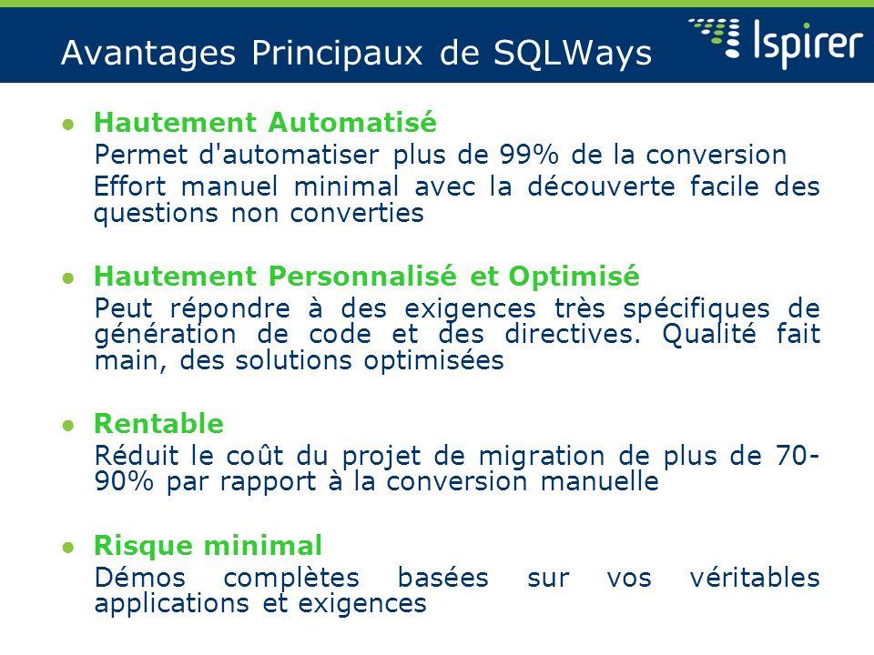 Avantages Principaux de SQLWays Hautement Automatisé Permet d'automatiser plus de 99% de la conversion Effort manuel minimal avec la découverte facile