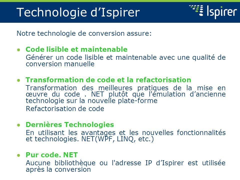 Technologie dIspirer Notre technologie de conversion assure: Code lisible et maintenable Générer un code lisible et maintenable avec une qualité de co