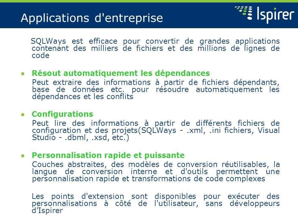 Applications d'entreprise SQLWays est efficace pour convertir de grandes applications contenant des milliers de fichiers et des millions de lignes de
