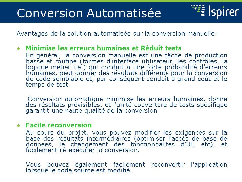 Conversion Automatisée Avantages de la solution automatisée sur la conversion manuelle: Minimise les erreurs humaines et Réduit tests En général, la c