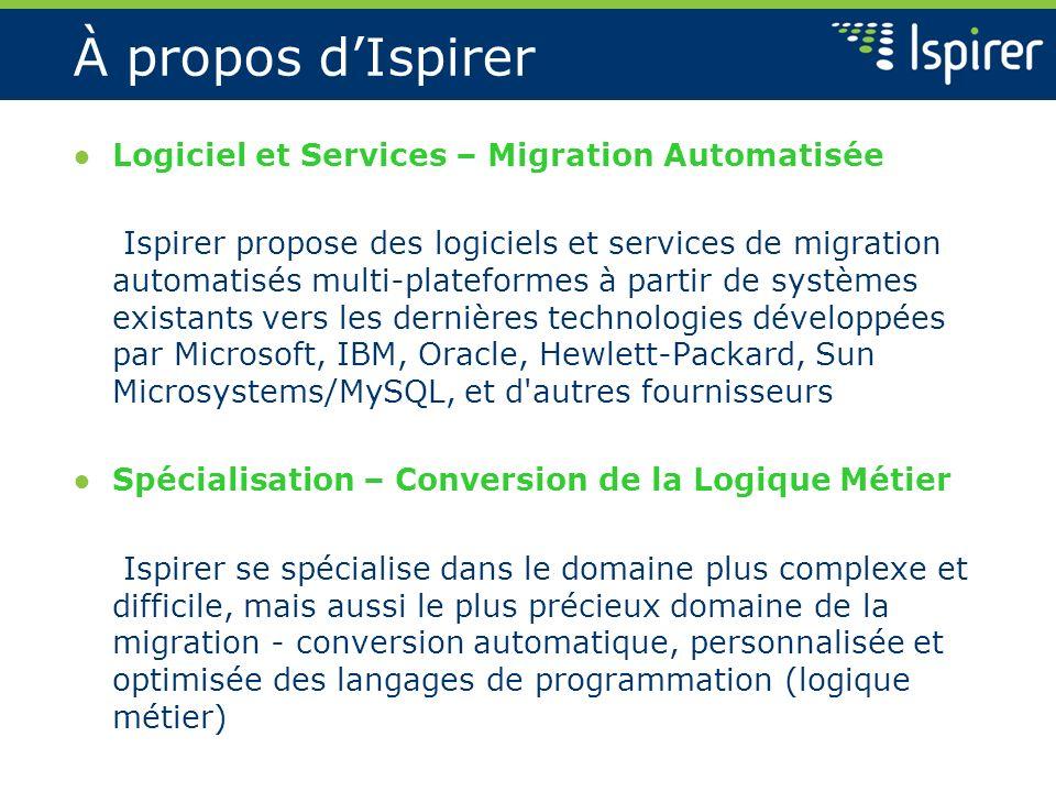À propos dIspirer Logiciel et Services – Migration Automatisée Ispirer propose des logiciels et services de migration automatisés multi-plateformes à