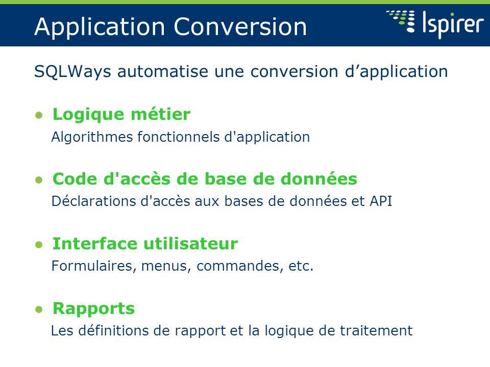 Application Conversion SQLWays automatise une conversion dapplication Logique métier Algorithmes fonctionnels d application Code d accès de base de données Déclarations d accès aux bases de données et API Interface utilisateur Formulaires, menus, commandes, etc.