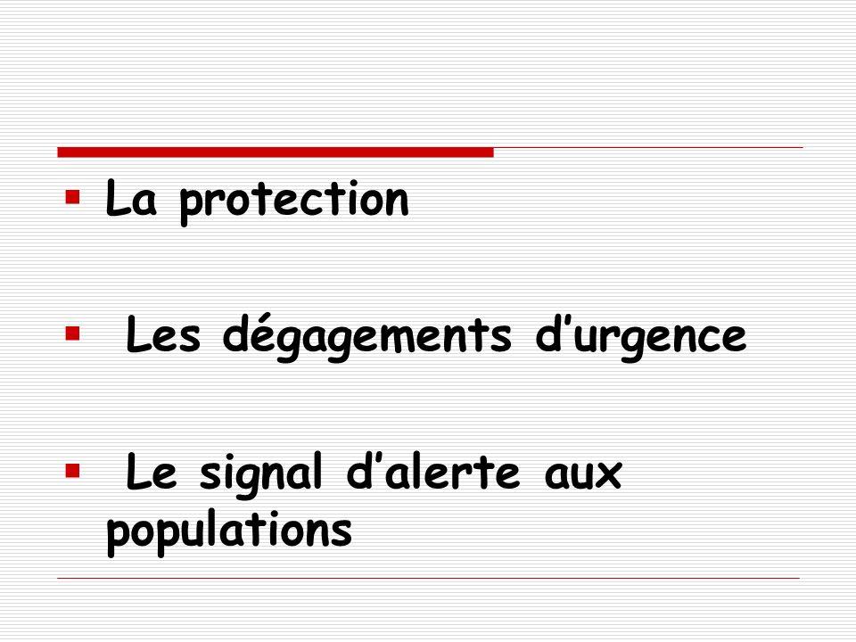 La protection Les dégagements durgence Le signal dalerte aux populations