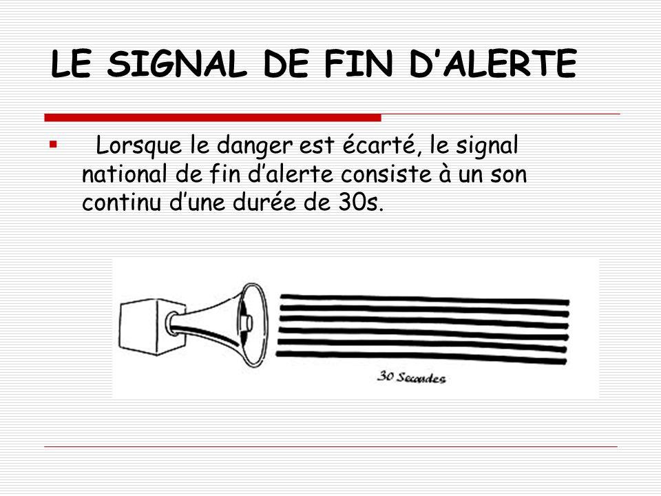 LE SIGNAL DE FIN DALERTE Lorsque le danger est écarté, le signal national de fin dalerte consiste à un son continu dune durée de 30s.
