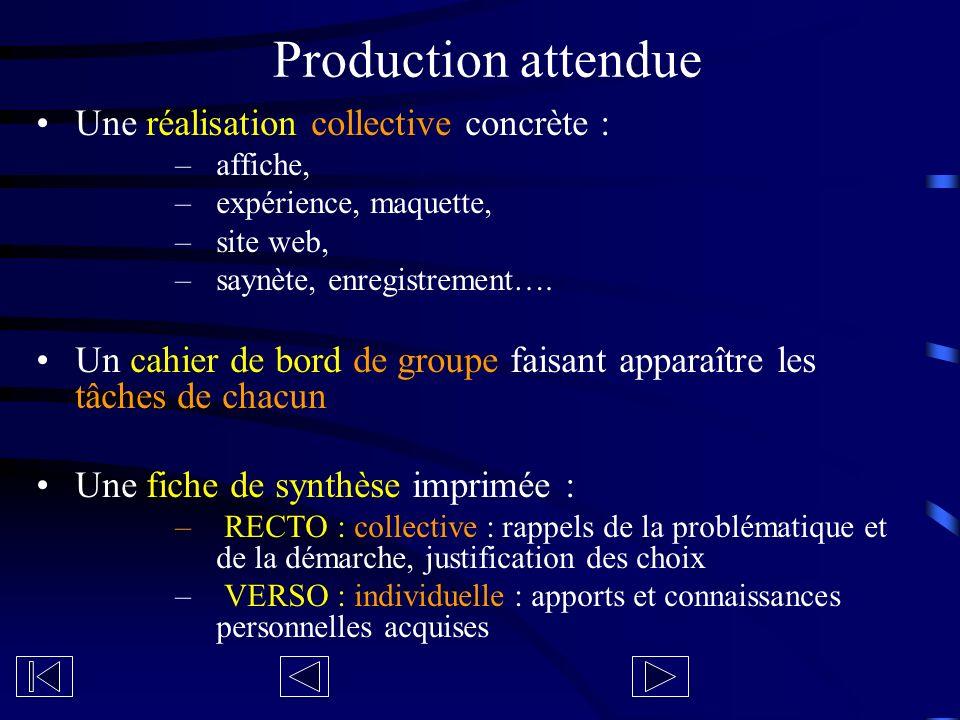 Une réalisation collective concrète : –affiche, –expérience, maquette, –site web, –saynète, enregistrement…. Un cahier de bord de groupe faisant appar