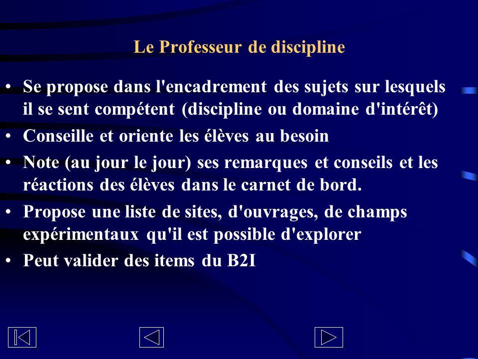 Le Professeur de discipline Se propose dans l'encadrement des sujets sur lesquels il se sent compétent (discipline ou domaine d'intérêt) Conseille et