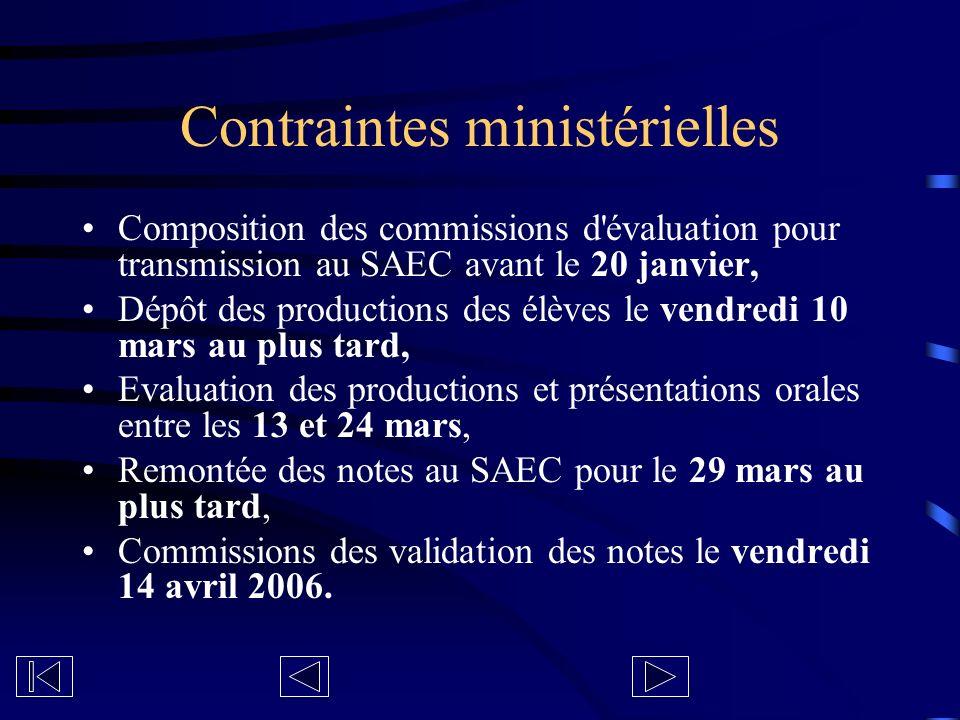 Contraintes ministérielles Composition des commissions d'évaluation pour transmission au SAEC avant le 20 janvier, Dépôt des productions des élèves le