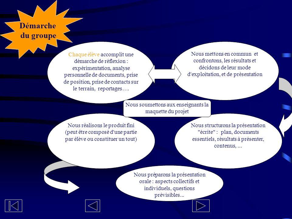 Chaque élève accomplit une démarche de réflexion : expérimentation, analyse personnelle de documents, prise de position, prise de contacts sur le terr