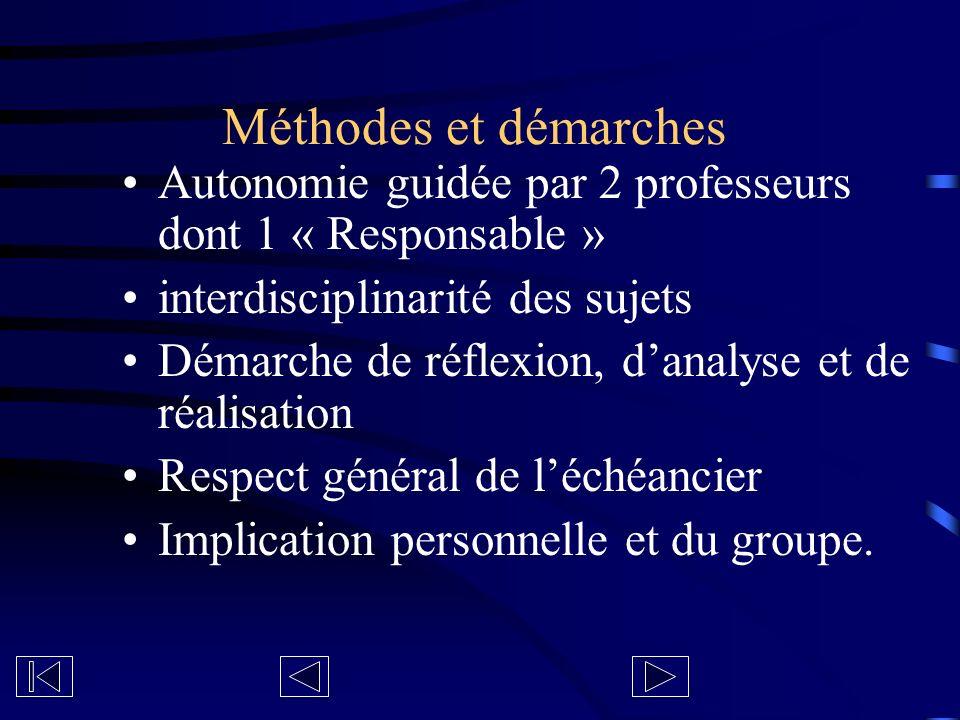 Méthodes et démarches Autonomie guidée par 2 professeurs dont 1 « Responsable » interdisciplinarité des sujets Démarche de réflexion, danalyse et de r