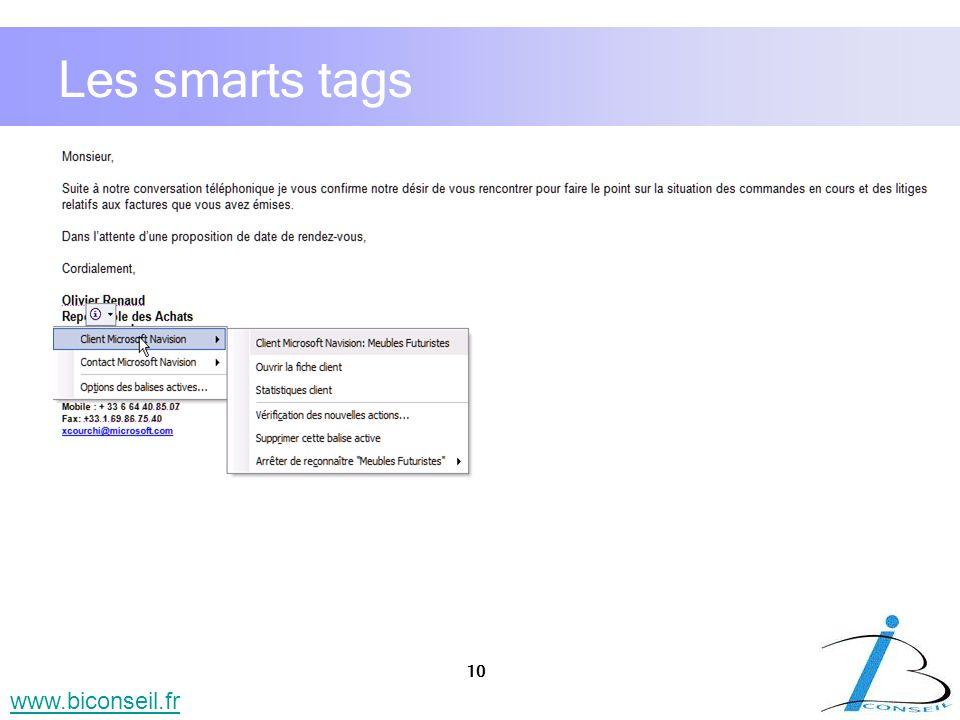 10 www.biconseil.fr Les smarts tags