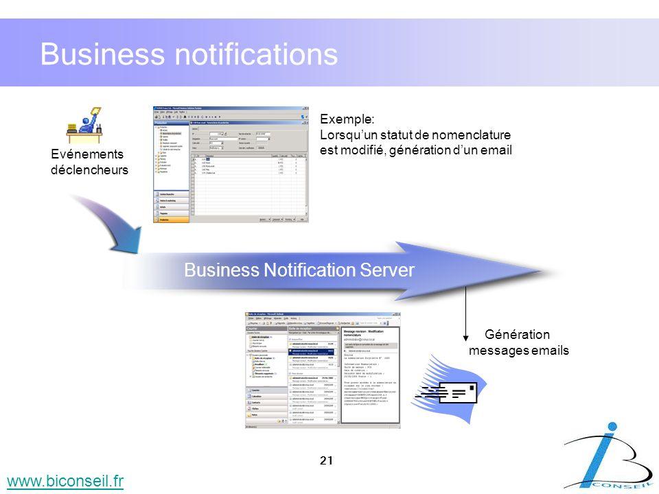 21 www.biconseil.fr Business notifications Génération messages emails Evénements déclencheurs Exemple: Lorsquun statut de nomenclature est modifié, gé