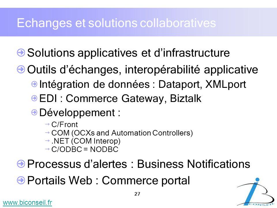 27 www.biconseil.fr Echanges et solutions collaboratives Solutions applicatives et dinfrastructure Outils déchanges, interopérabilité applicative Inté