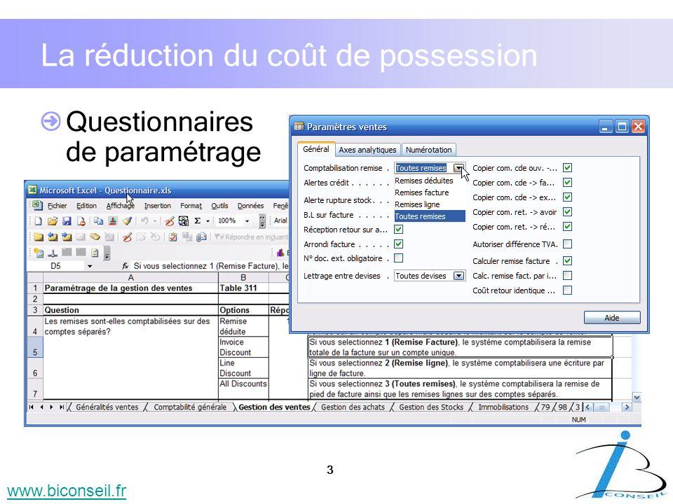 3 www.biconseil.fr La réduction du coût de possession Questionnaires de paramétrage