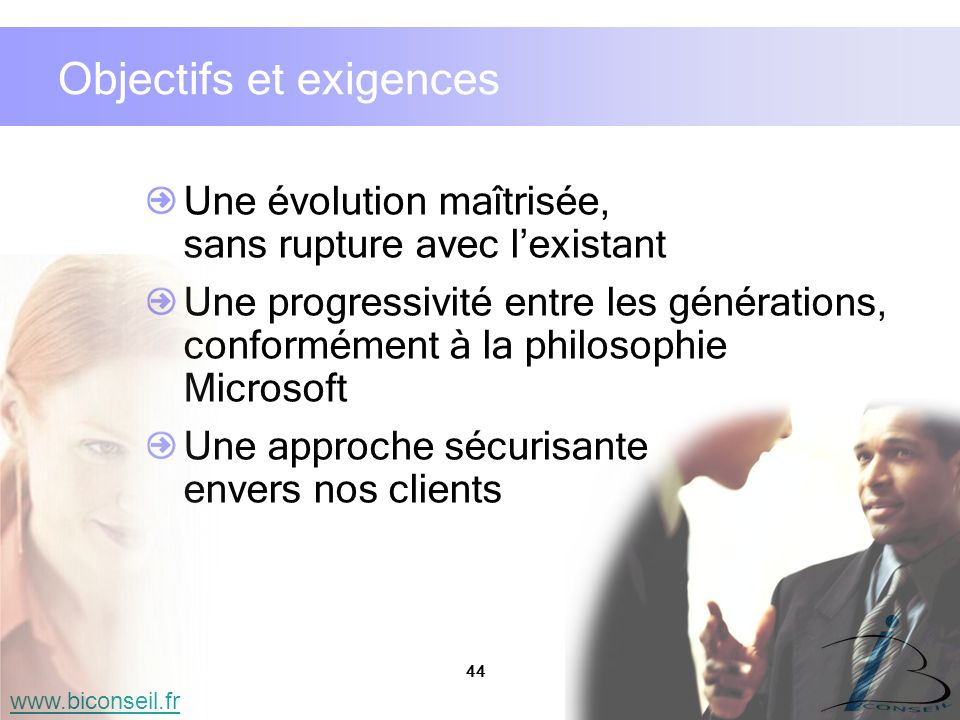 44 www.biconseil.fr Objectifs et exigences Une évolution maîtrisée, sans rupture avec lexistant Une progressivité entre les générations, conformément