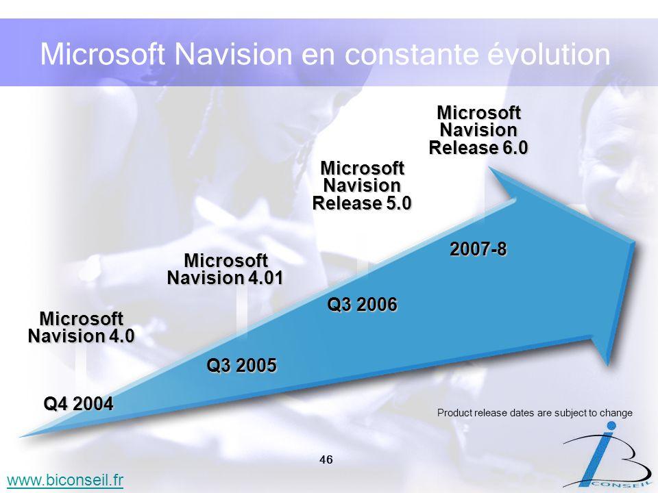 46 www.biconseil.fr Microsoft Navision en constante évolution Q3 2005 Microsoft Navision 4.01 Q3 2006 Microsoft Navision Release 5.0 2007-8 Microsoft