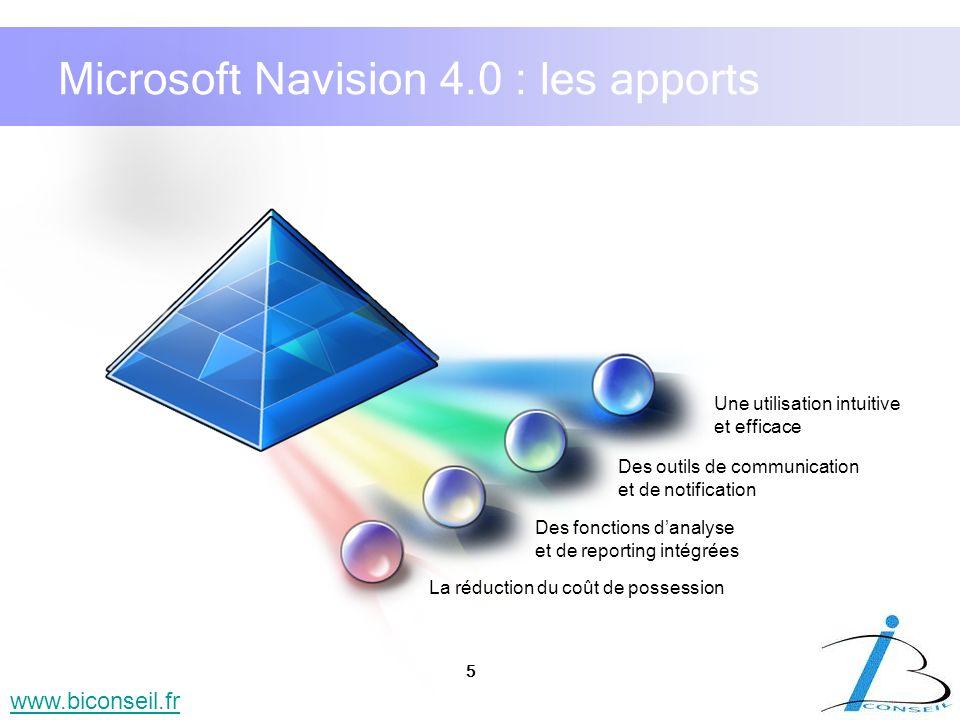 5 www.biconseil.fr Microsoft Navision 4.0 : les apports La réduction du coût de possession Des outils de communication et de notification Des fonction