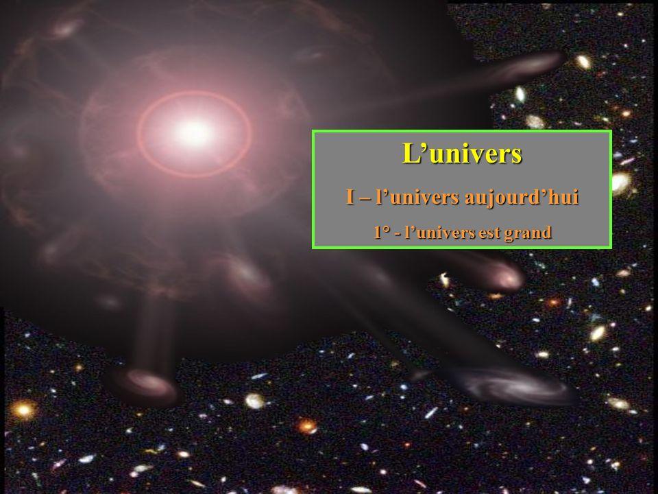 Lunivers I – lunivers aujourdhui 1° - lunivers est grand
