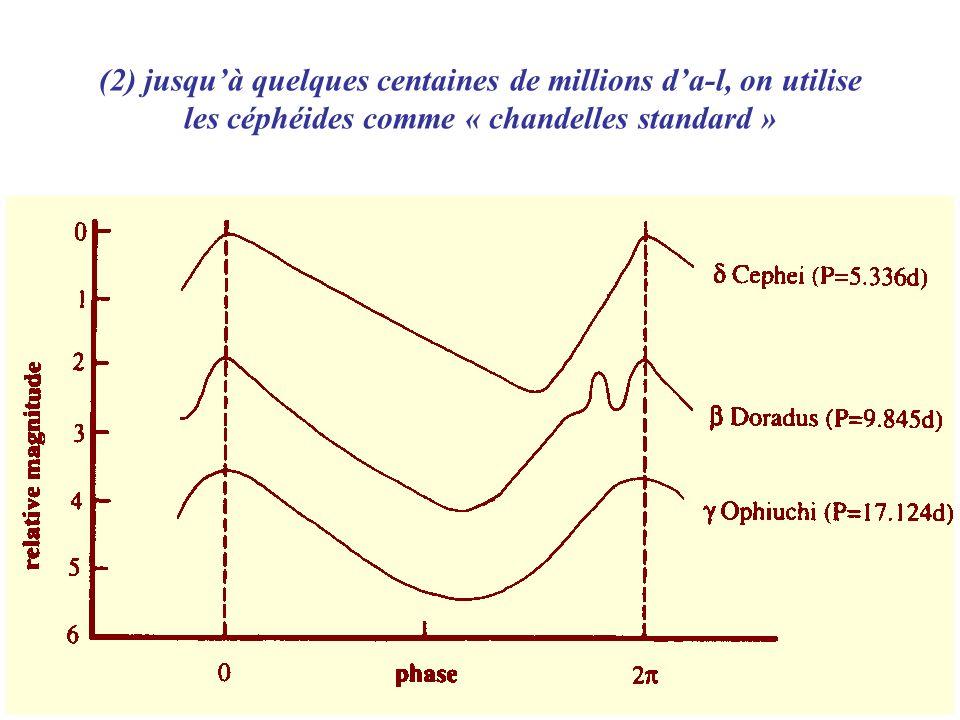 (2) jusquà quelques centaines de millions da-l, on utilise les céphéides comme « chandelles standard »