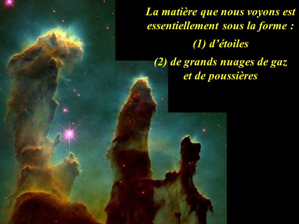 La matière que nous voyons est essentiellement sous la forme : (1) détoiles (2) de grands nuages de gaz et de poussières