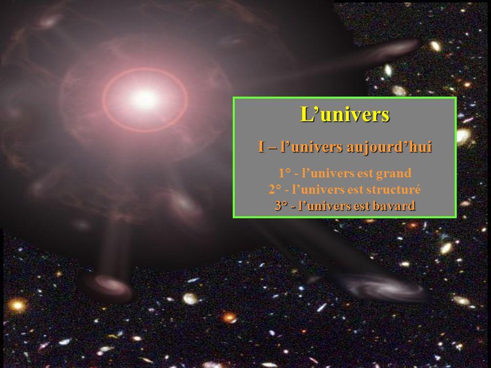 Lunivers I – lunivers aujourdhui 1° - lunivers est grand 2° - lunivers est structuré 3° - lunivers est bavard