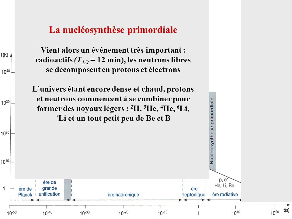 La nucléosynthèse primordiale Vient alors un événement très important : radioactifs (T 1/2 = 12 min), les neutrons libres se décomposent en protons et