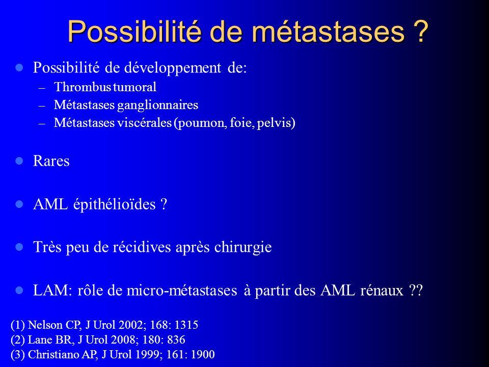 Possibilité de métastases ? Possibilité de développement de: – Thrombus tumoral – Métastases ganglionnaires – Métastases viscérales (poumon, foie, pel