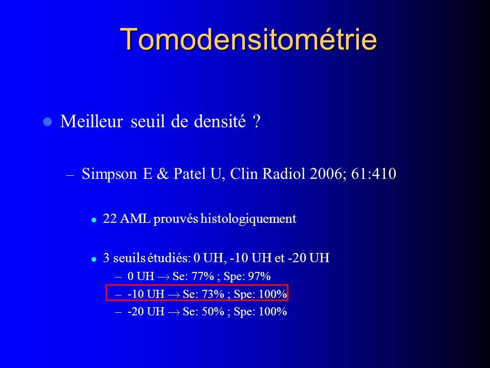 Tomodensitométrie Meilleur seuil de densité ? – Simpson E & Patel U, Clin Radiol 2006; 61:410 22 AML prouvés histologiquement 3 seuils étudiés: 0 UH,