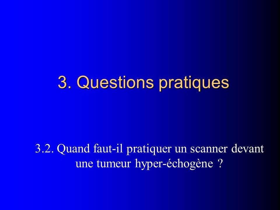 3. Questions pratiques 3.2. Quand faut-il pratiquer un scanner devant une tumeur hyper-échogène ?