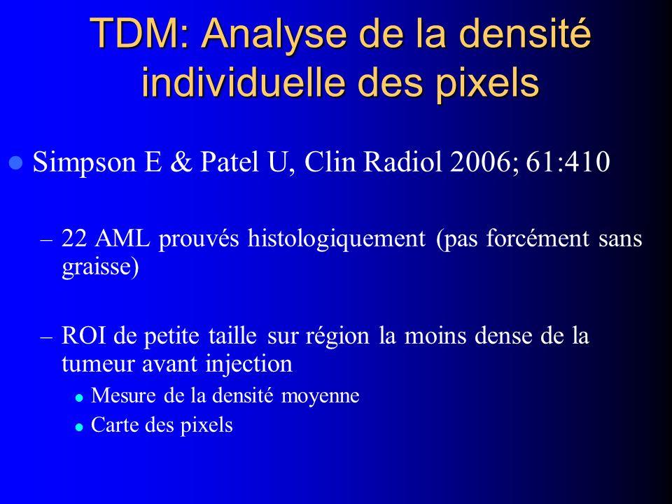 TDM: Analyse de la densité individuelle des pixels Simpson E & Patel U, Clin Radiol 2006; 61:410 – 22 AML prouvés histologiquement (pas forcément sans