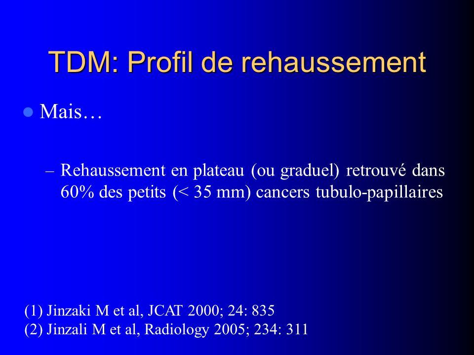 TDM: Profil de rehaussement Mais… – Rehaussement en plateau (ou graduel) retrouvé dans 60% des petits (< 35 mm) cancers tubulo-papillaires (1) Jinzaki