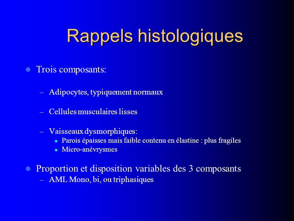 Rappels histologiques Trois composants: – Adipocytes, typiquement normaux – Cellules musculaires lisses – Vaisseaux dysmorphiques: Parois épaisses mai