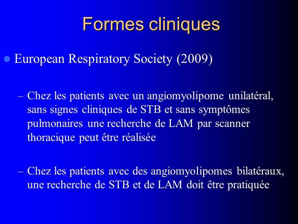 Formes cliniques European Respiratory Society (2009) – Chez les patients avec un angiomyolipome unilatéral, sans signes cliniques de STB et sans sympt