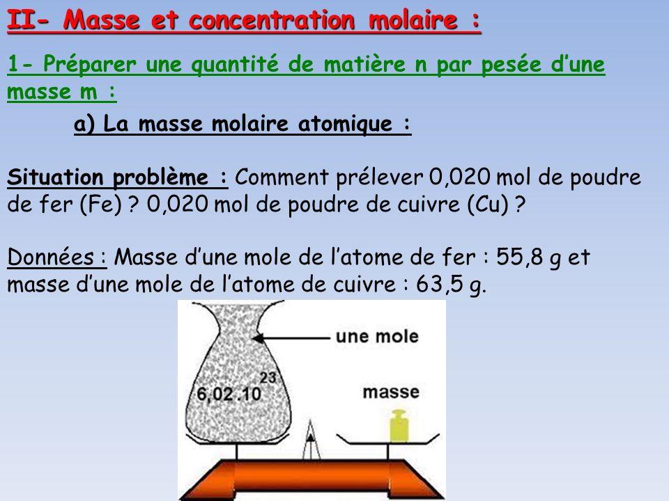 1- Préparer une quantité de matière n par pesée dune masse m : a) La masse molaire atomique : Situation problème : Comment prélever 0,020 mol de poudr