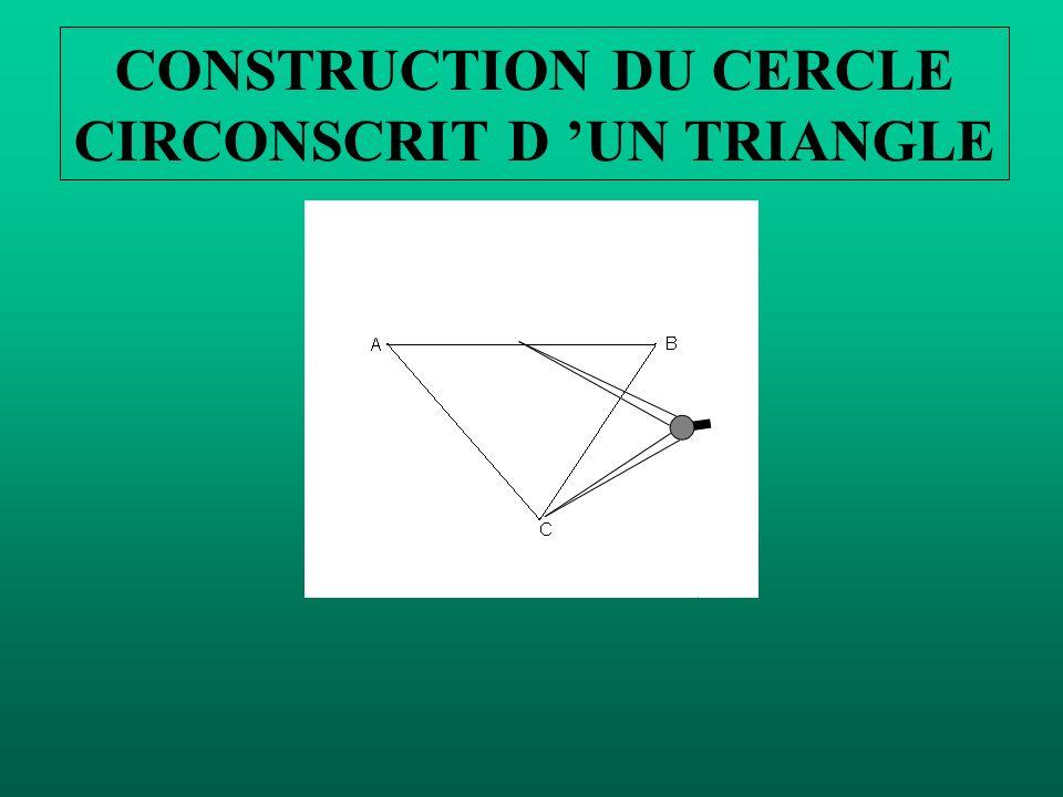 Commençons par faire la médiatrice de [ AC]. Prendre un écartement de compas plus grand que la moitié de [AC]. CONSTRUCTION DU CERCLE CIRCONSCRIT D UN